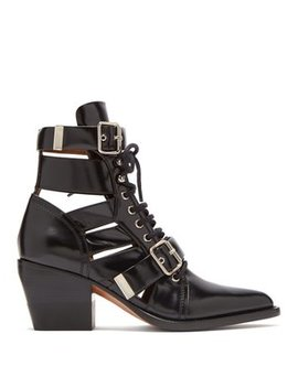 Rylee Cut Out Patent Leather Ankle Boots by Matches Fashion
