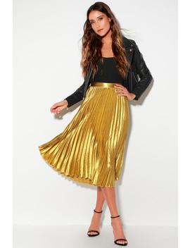 Pretty Pleats Gold Metallic Pleated Midi Skirt by Lulus