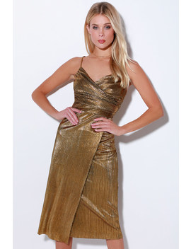 Love And Luxury Gold Pleated Surplice Midi Dress by Lulus