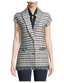 Thatched Grid Knit Cap Sleeve Jacket by St. John Collection