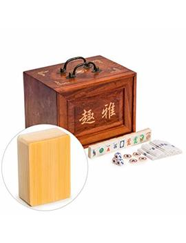 Yellow Mountain Imports Traditional American Mahjong (Mah Jong, Mahjongg, Mah Jongg, Mah Jongg, Majiang) Set With 166 Bone & Bamboo Tiles In 5 Drawer Rosewood Box by Yellow Mountain Imports