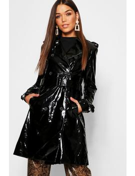 Pvc Belted Trench Coat by Boohoo