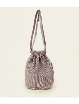 Grey Pleated Velvet Drawstring Bag by New Look