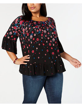Plus Size Floral Print Off The Shoulder Top, Created For Macy's by Style & Co