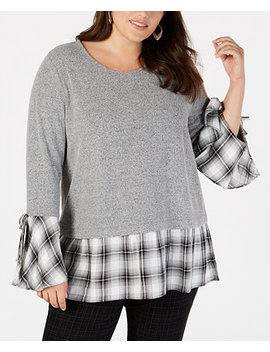 Plus Size Bell Sleeve Layered Look Top, Created For Macy's by Style & Co