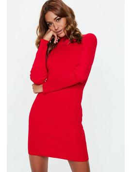 Red High Neck Knit Mini Dress by Missguided