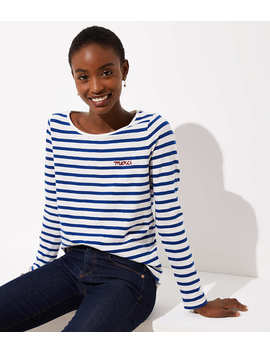 Merci Embroidered Striped Tee by Loft