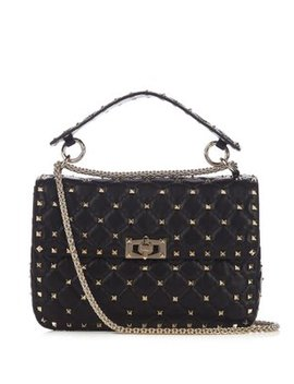 Rockstud Spike Medium Quilted Leather Shoulder Bag by Matches Fashion