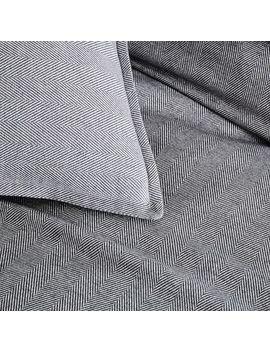 Flannel Herringbone Duvet Cover, Full/Queen, Medium Gray by West Elm