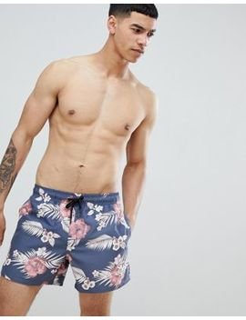 Sik Silk Hazey Daze Swim Shorts In Navy With Palm Print by Sik Silk