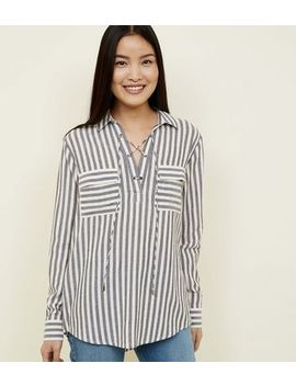 Blue Stripe Lattice Front Shirt by New Look