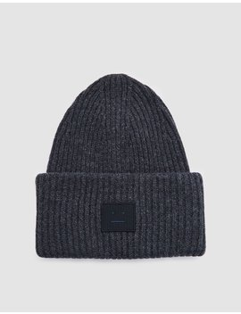 Pansy L Face Beanie In Charcoal Melange by Acne Studios