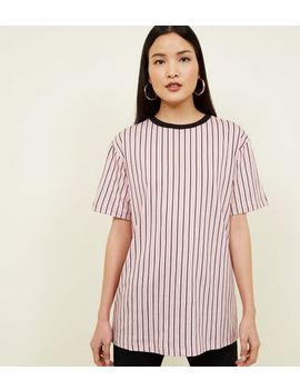 Pink Vertical Stripe Longline T Shirt by New Look