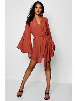 Wide Sleeve Woven Wrap Dress by Boohoo