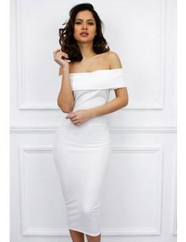 Glamzam White Off The Shoulder Calf Length Bodycon Dress by Glamzam