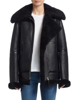 Shearling Trimmed Leather Biker Jacket by Acne Studios