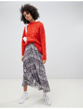 Asos Design Pleated Midi Skirt In Snake Print by Asos Design
