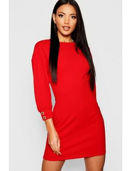 Button Detail Volume Sleeve Shift Dress by Boohoo