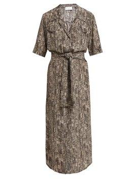 Broken Stripe Print Silk Shirtdress by Matches Fashion