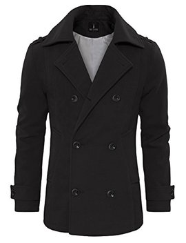 Tam Ware Men's Stylish Wool Blend Double Breasted Pea Coat by Tom27s+Ware