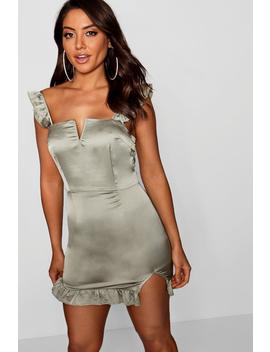 Satin Ruffle Plunge Bodycon Dress by Boohoo