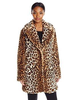 Calvin Klein Women's Faux Fur Leopard Coat by Calvin+Klein