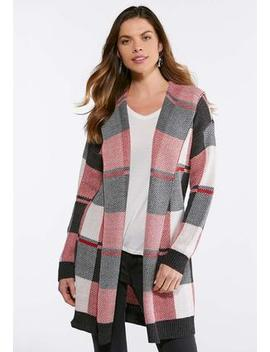 Red Plaid Cardigan Sweater by Cato