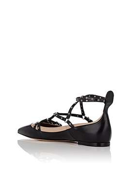 Love Latch Leather Caged Ballet Flats by Valentino Garavani