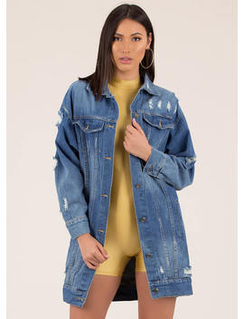 A Long Time Distressed Denim Jacket by Go Jane