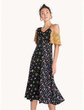 Midi Asymmetric Shoulder Two Tone Floral Dress by Pomelo