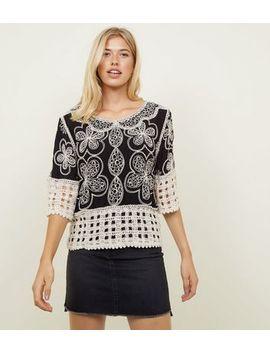 Black Crochet Hem 3/4 Sleeve Top by New Look