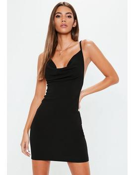 Black Crepe Cowl Neck Bodycon Dress by Missguided