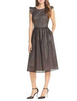 Ruffle Grid Overlay Midi Dress by 1901