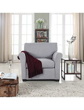 Classic And Traditional Linen Fabric Accent Chair   Living Room Armchair (Light Grey) by Divano Roma Furniture