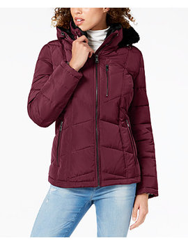 Faux Fur Lined Puffer Coat by Calvin Klein