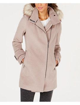 Faux Fur Trim Asymmetrical Coat by Calvin Klein