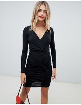 New Look Slinky Wrap Dress With Gathered Sides by New Look