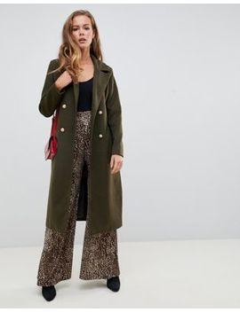 Зеленое пальто в стиле милитари с поясом Missguided by Asos