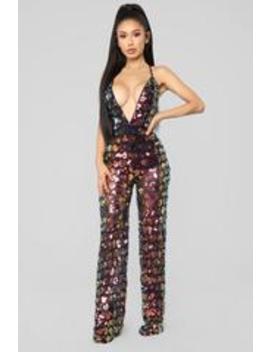 Diamonds Dancing Sequin Jumpsuit   Black/Multi by Fashion Nova