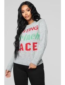 Resting Grinch Face Christmas Sweater   Grey by Fashion Nova