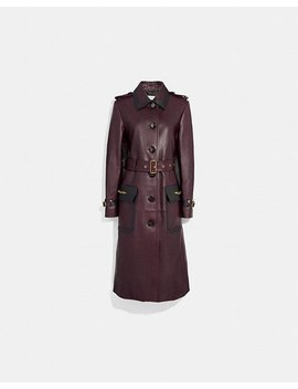 Western Leather Trench Coat by Coach