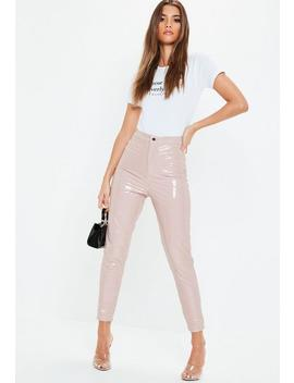 Pink Vinyl 4 Pocket Trousers by Missguided