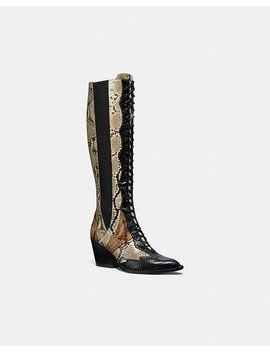 Lace Up Boot With Patchwork Snake by Coach