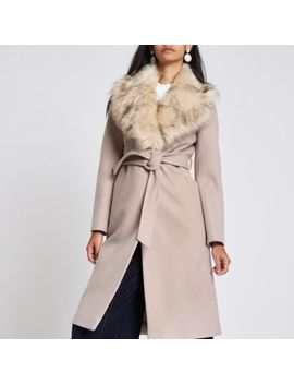 Cream Belted Faux Fur Robe Coat by River Island