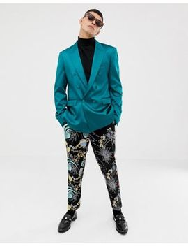 Asos Design Slim Double Breasted Blazer In Teal High Shine by Asos Design