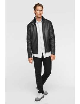 Combined Leather Jacket  View All Premium Man by Zara