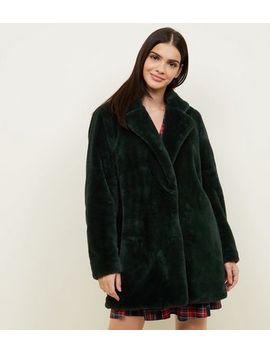 Dark Green Faux Fur Longline Coat by New Look