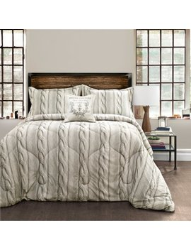 Printed Cable Knit Comforter Gray 4 Piece Set by Lush Decor