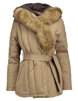 Galo Faux Fur Trimmed Cotton Blend Twill Hooded Coat by Maje
