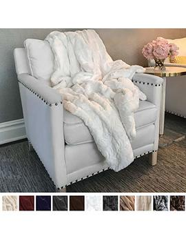 "The Connecticut Home Company Original Luxury Faux Fur Throw Blanket, Soft, Large Plush Reversible Blankets, Warm & Hypoallergenic Throws For Couch Or Bed, Washable, Microfiber 65"" X 50"" (White) by The Connecticut Home Company"